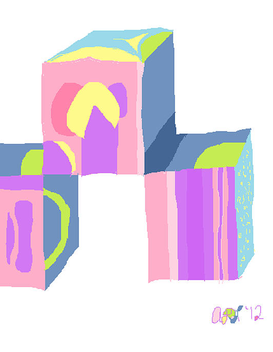 Pastel Cubes Painting