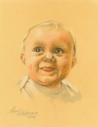 Pastel Portrait Of Baby. Commission. Pastel