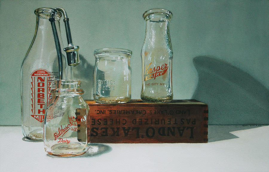 Retro Milk Bottles Painting - Pasteurized by Denny Bond