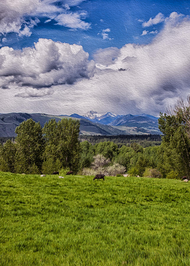 Pastures And Clouds  Painting  - Pastures And Clouds  Fine Art Print