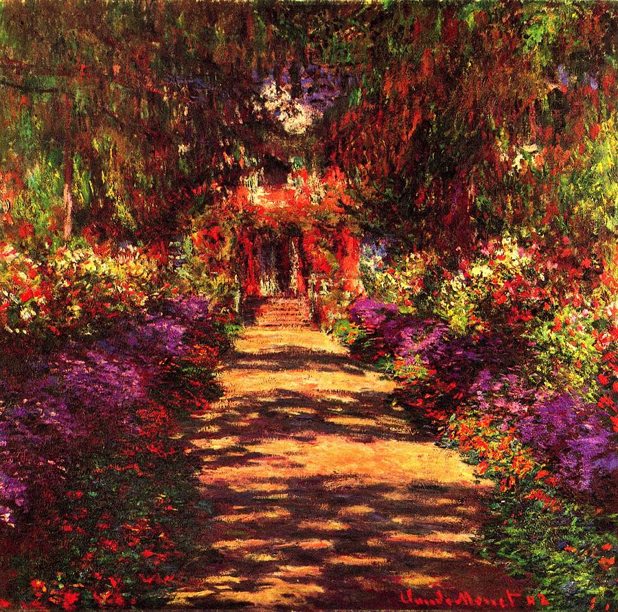 Path in monets garden in giverny painting by claude monet for Monet paintings images