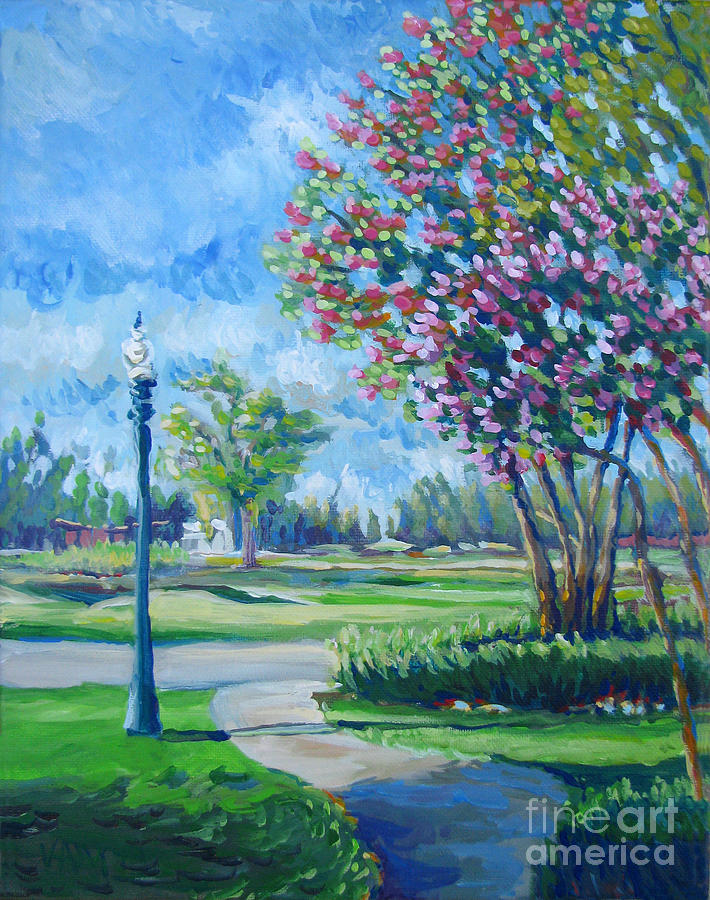 Path With Flowering Trees Painting  - Path With Flowering Trees Fine Art Print