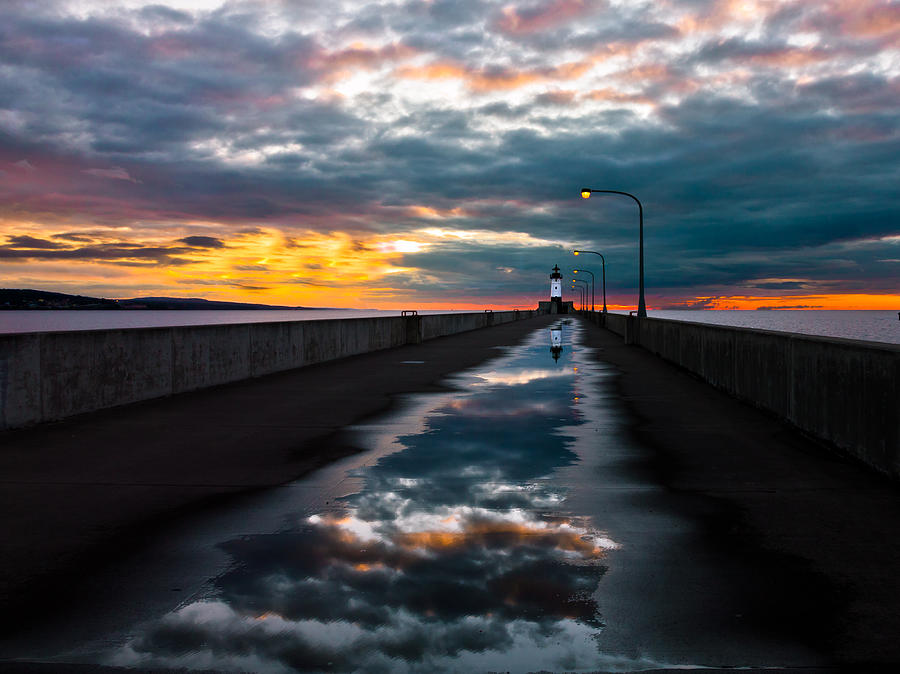 pathway To The Sun after The Rains lake Superior Sunrise reflection sunrise canal Park canal Park Lighthouse Duluth dawn On Lake Superior dawn In Canal Park wow pure Magic!greeting Cardslandscape Greeting Cards nature Greeting Cards Photograph - Pathway To The Sun by Mary Amerman