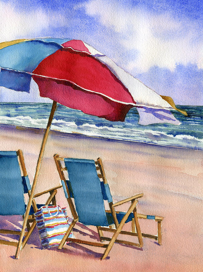 Patriotic Beach Umbrellas Painting