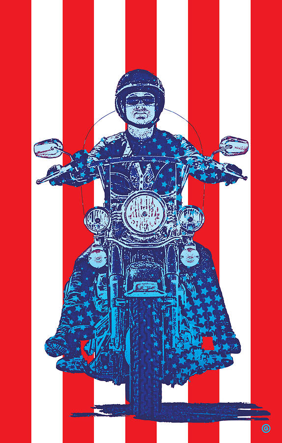 Patriotic Cycle Rider Digital Art  - Patriotic Cycle Rider Fine Art Print
