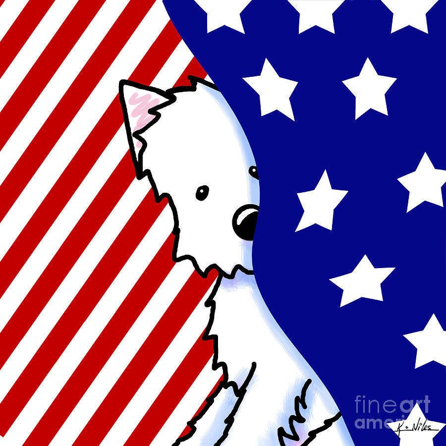 Patriotic Peekaboo Westie Drawing