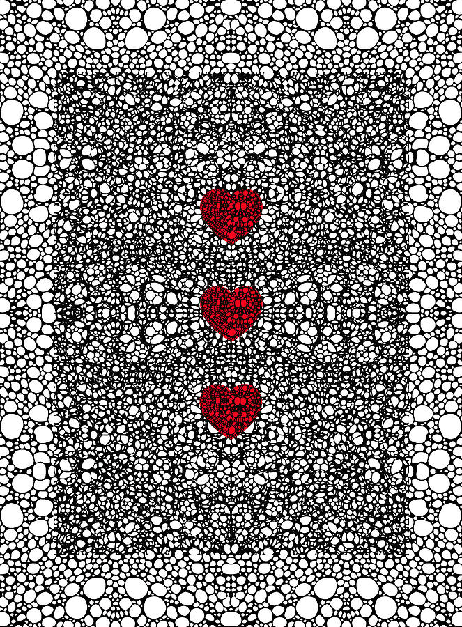 Pattern 34 - Heart Art - Black And White Exquisite Patterns By Sharon Cummings Painting