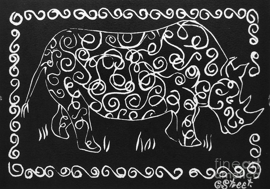 Patterned Rhino Relief