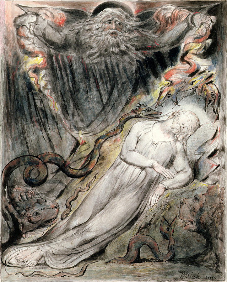 Dreaming Drawing - Pd.20-1950 Christs Troubled Sleep by William Blake