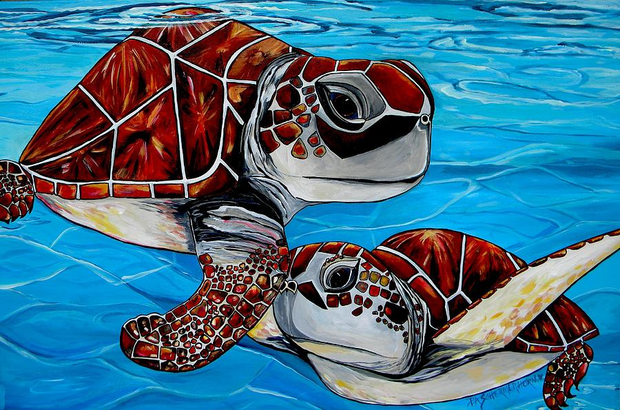 Turtles Painting - Peace Love And Turtles by Patti Schermerhorn