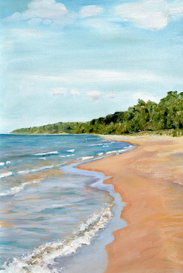Peaceful Beach At Pier Cove Painting  - Peaceful Beach At Pier Cove Fine Art Print