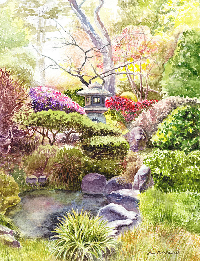 Affirmation Painting - Peaceful Garden by Irina Sztukowski