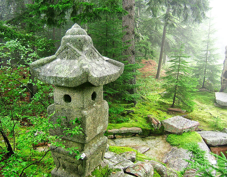 Peaceful Photograph - Peaceful Japanese Garden On Mount Desert Island by Edward Fielding