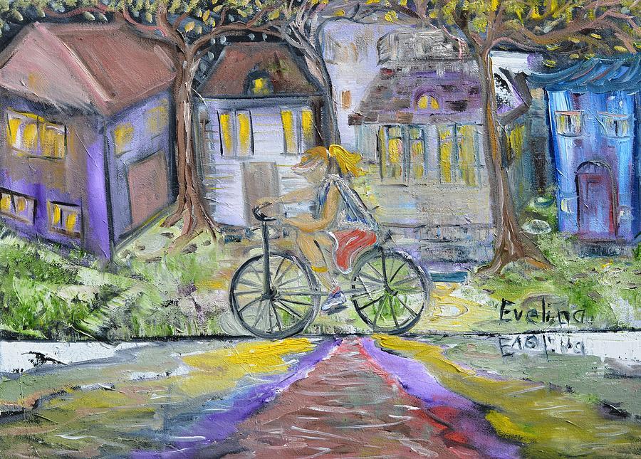 Bike Painting - Peaceful Mood by Evelina Popilian