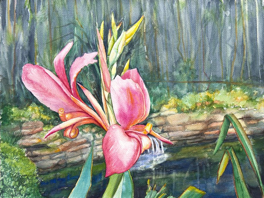 Peach Canna By The Pond Painting  - Peach Canna By The Pond Fine Art Print