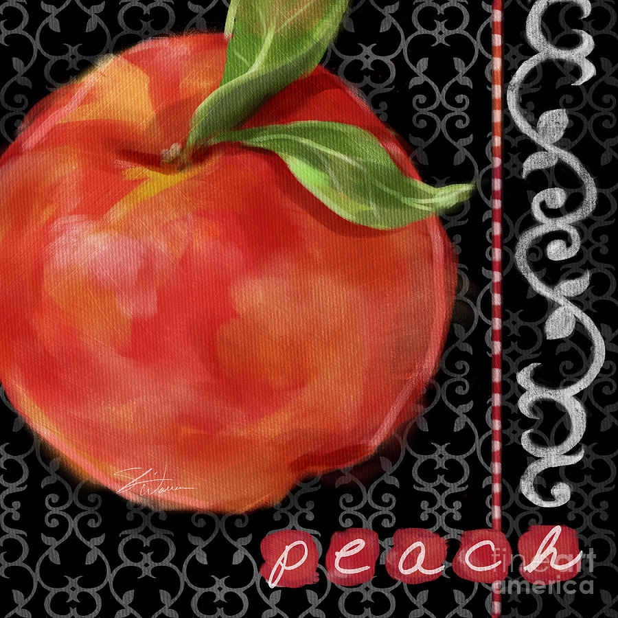 Peach Mixed Media - Peach On Black And White by Shari Warren