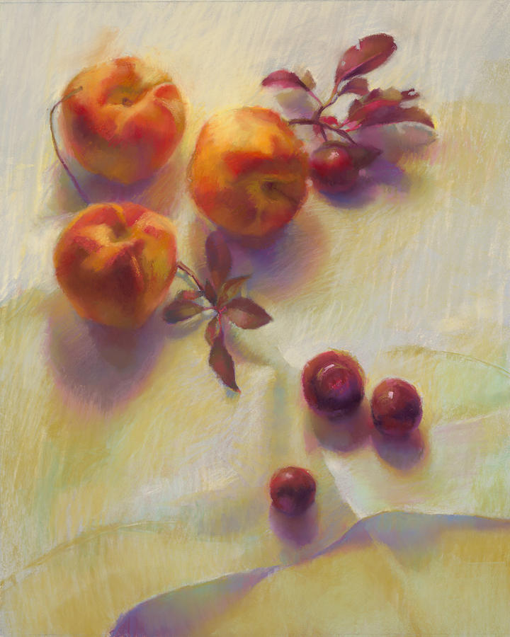Peaches Painting - Peaches And Plums by Cathy Locke