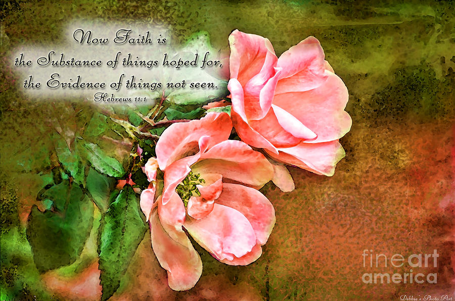 Nature Digital Art - Peachy Keen With Verse  by Debbie Portwood