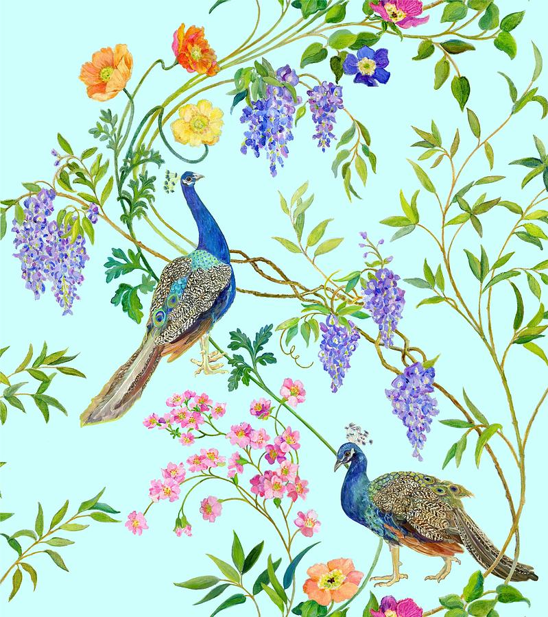 Peacock Chinoiserie Surface Fabric Design Painting By
