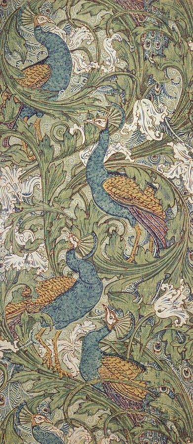 Peacock Garden Wallpaper Painting By Walter Crane