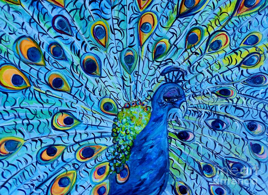 Peacock On Blue Painting