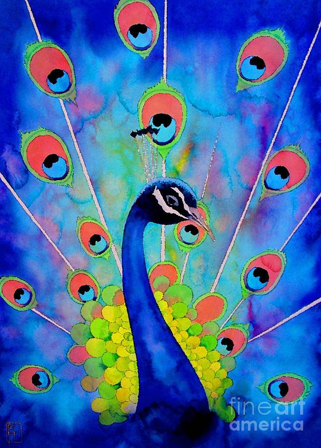 Watercolor Painting - Peacock by Robert Hooper