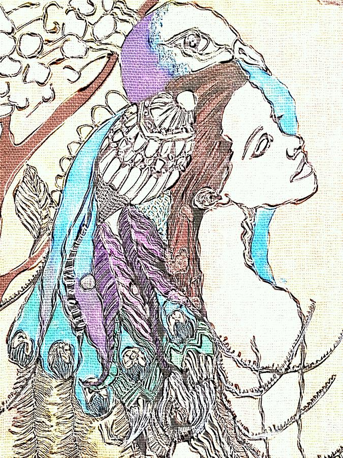Peacock Woman 2 Painting