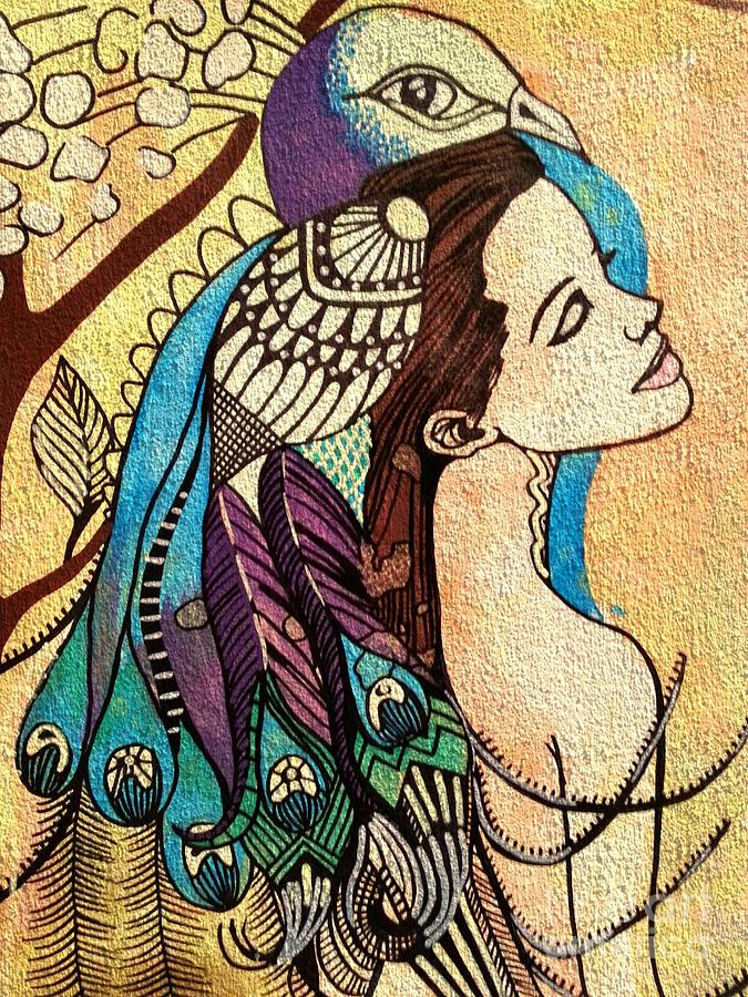 Peacock Woman Painting  - Peacock Woman Fine Art Print