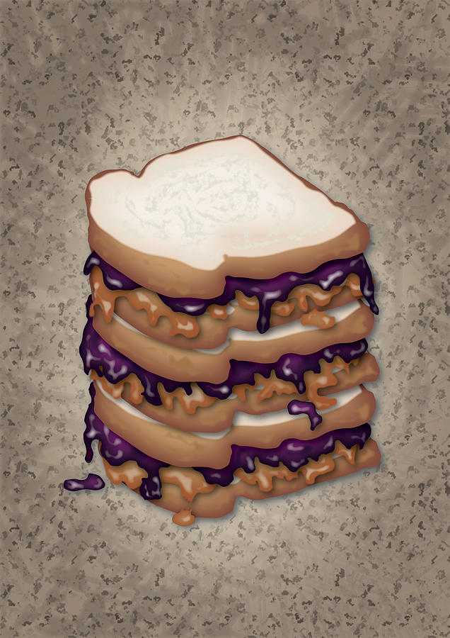 Peanut Butter And Jelly Sandwich Digital Art