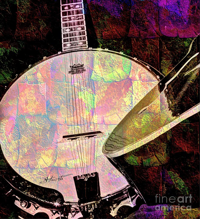 Pearl Digital Banjo And Guitar Art By Steven Langston Photograph  - Pearl Digital Banjo And Guitar Art By Steven Langston Fine Art Print