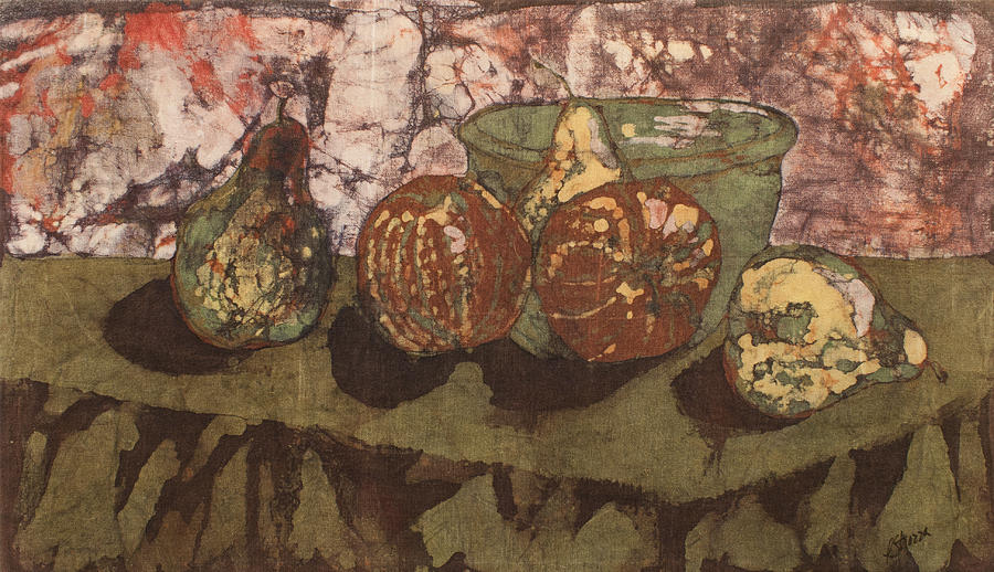 Pears And Apples Batik I Tapestry - Textile  - Pears And Apples Batik I Fine Art Print