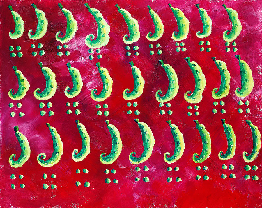 Peas On A Red Background Painting
