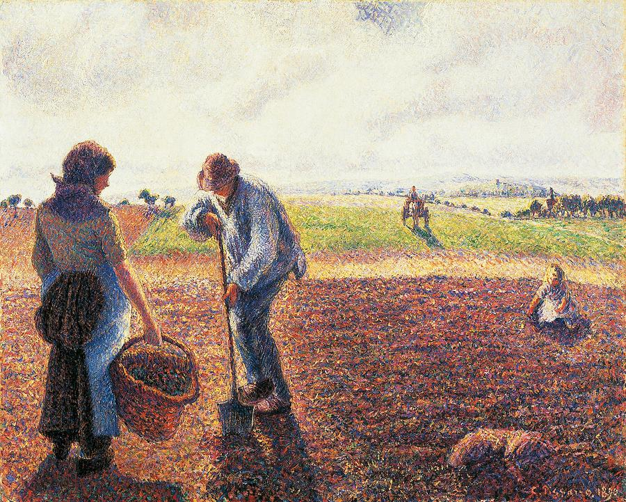 Art Painting - Peasants In The Field Eragny by Camille Pissarro