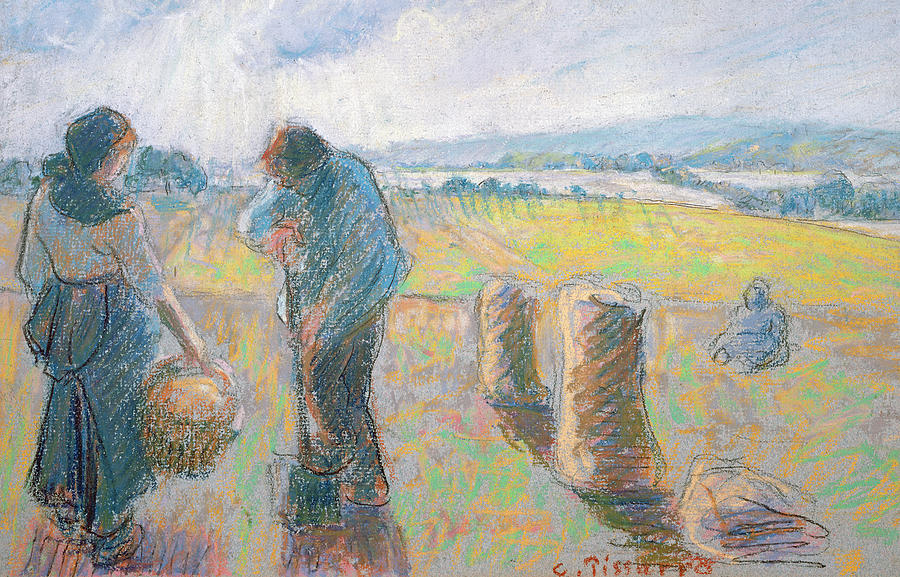 Peasants In The Fields Pastel