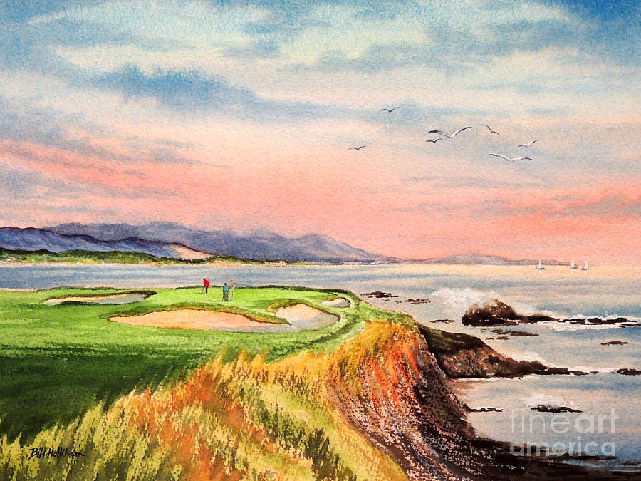 Pebble Beach Golf Course Hole 7 Painting  - Pebble Beach Golf Course Hole 7 Fine Art Print