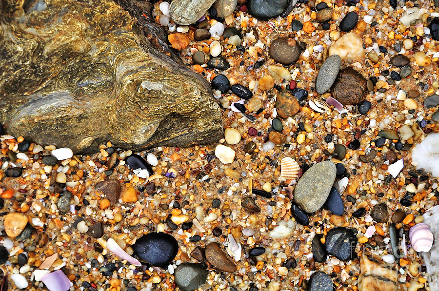 Pebbles And Sand Photograph  - Pebbles And Sand Fine Art Print