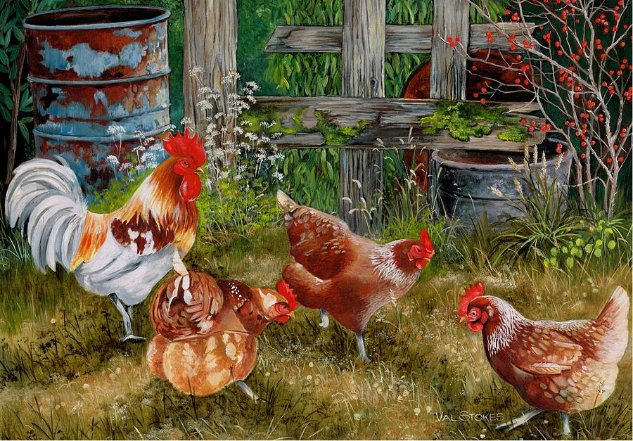 Pecking Party Painting By Val Stokes