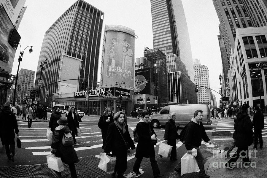 Pedestrians Crossing Crosswalk On 7th Ave And 34th Street Outside Macys New York City Usa Photograph
