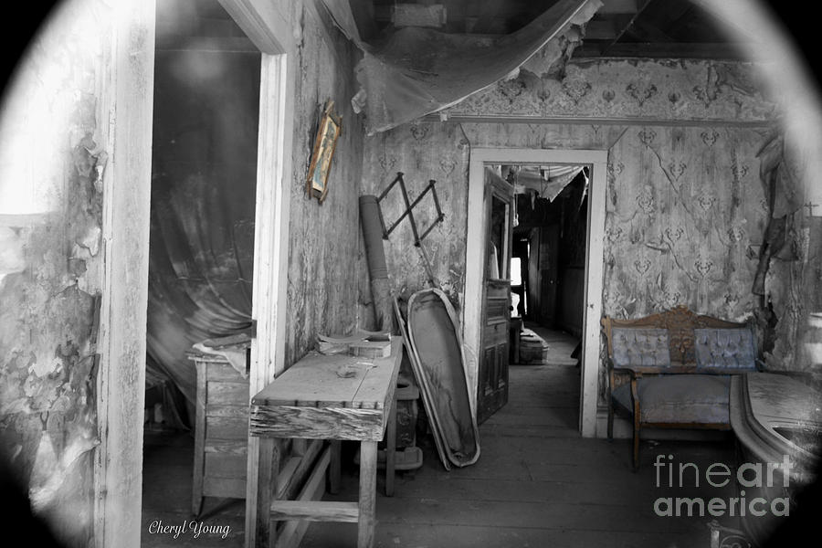 Antique Mortuary Photograph - Peeking In The Old Mortuary by Cheryl Young