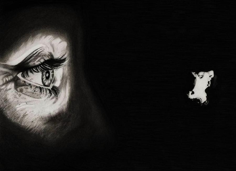 Peeping Tom - Psycho Drawing  - Peeping Tom - Psycho Fine Art Print