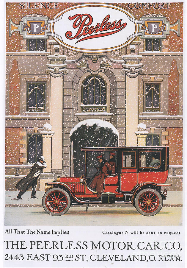 Peerless 1910s Usa Cars Winter Snow Drawing  - Peerless 1910s Usa Cars Winter Snow Fine Art Print