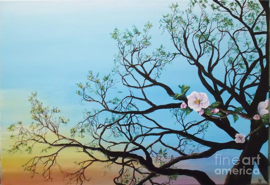 Peinture acrylique matin de printemps painting by danse for Peinture acrylique