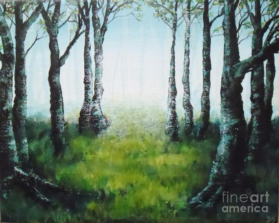 Peinture acrylique promenons nous dans les bois painting for Peinture acrylique