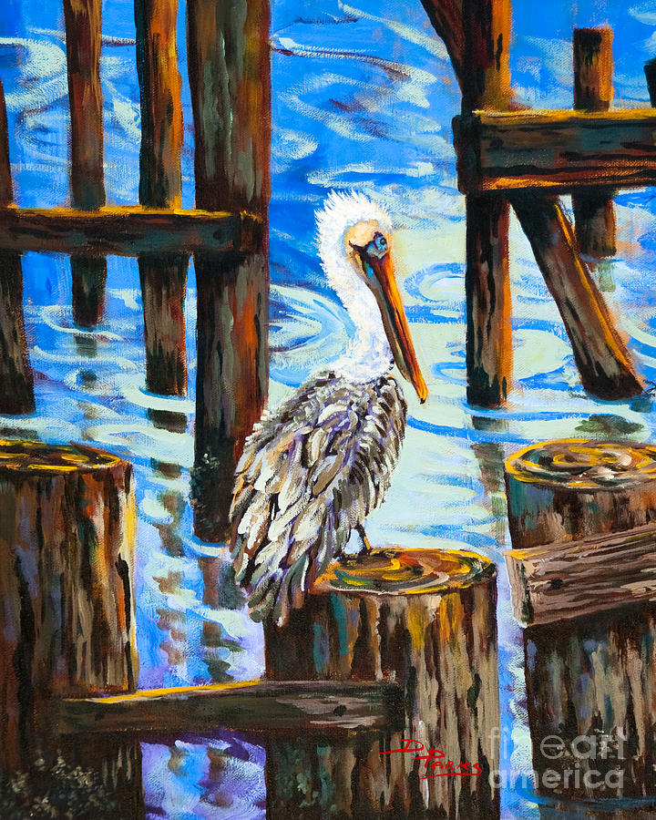 Pelican And Pilings Painting