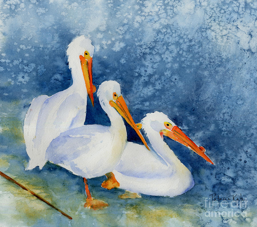 Pelicans At The Weir Painting