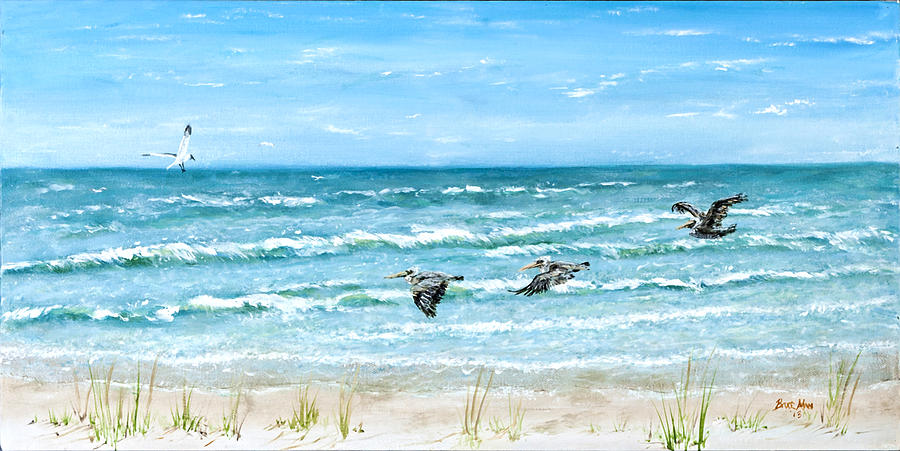 Pelicans On Crescent Beach Painting  - Pelicans On Crescent Beach Fine Art Print