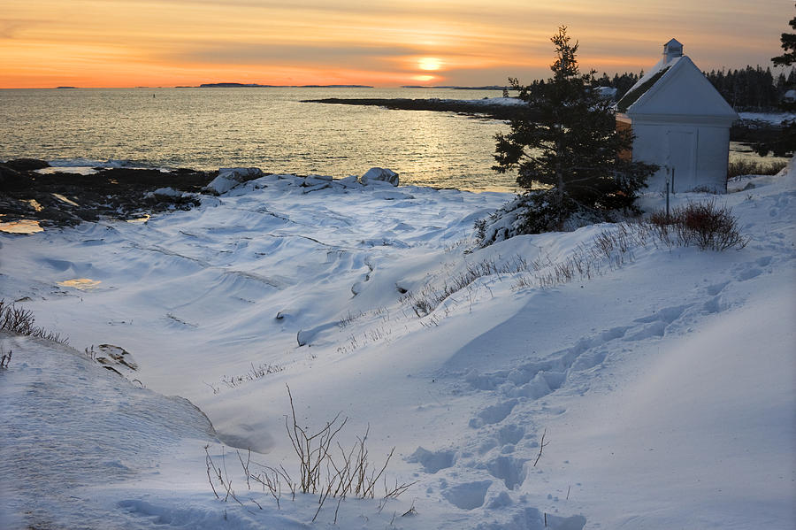 Pemaquid Point Winter Sunset On The Maine Coast Photograph