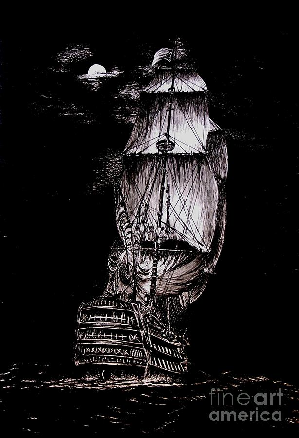 Pen And Ink Drawing Of Ghost Boat In Black And White Drawing