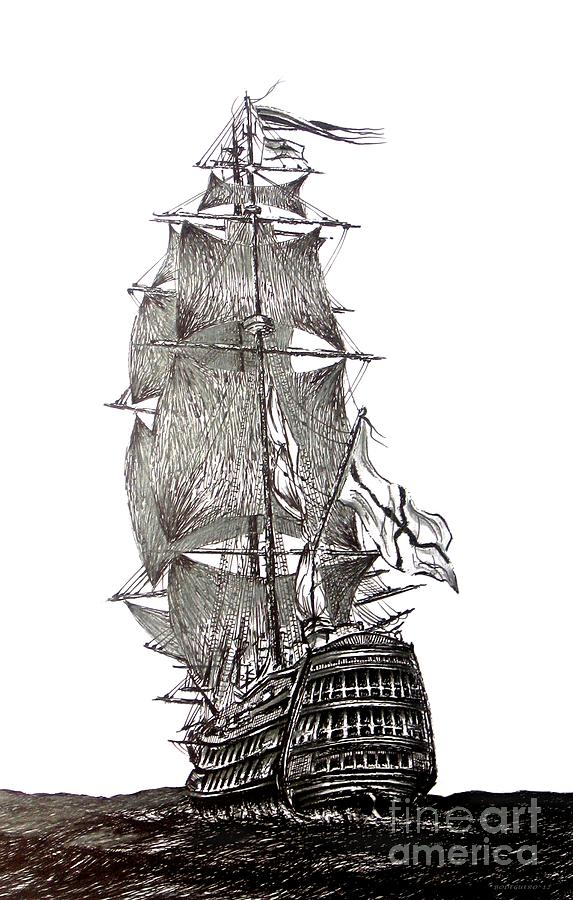 Pen And Ink Drawing Of Sail Ship In Black And White Drawing