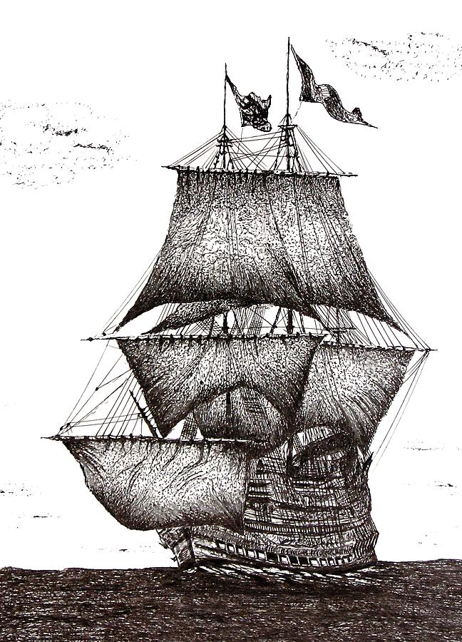 Pen And Ink Drawing Of Sailing Ship In Black And White Drawing